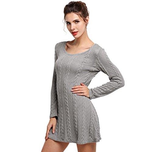 Signore delle donne manica lunga girocollo Maglione casuale sottile maglione lavorato a maglia Vestitino (M, Grigio)