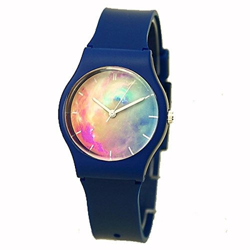 シリコン 腕時計 星空 宇宙 防水 機能性 学生 (ネイビー宇宙)
