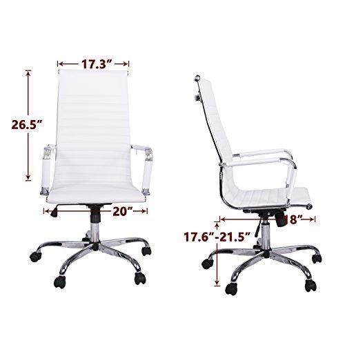 LIMIT SALES Walcut High Back Modern Upholstered 360° Swivel Tilt Height Adjust Ergonomic Ribbed High Back Executive Office PU Leather Computer Desk Chair (white)
