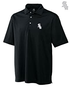 Chicago White Sox Mens DryTec Medina Tonal Stripe Polo Shirt Black by Cutter & Buck