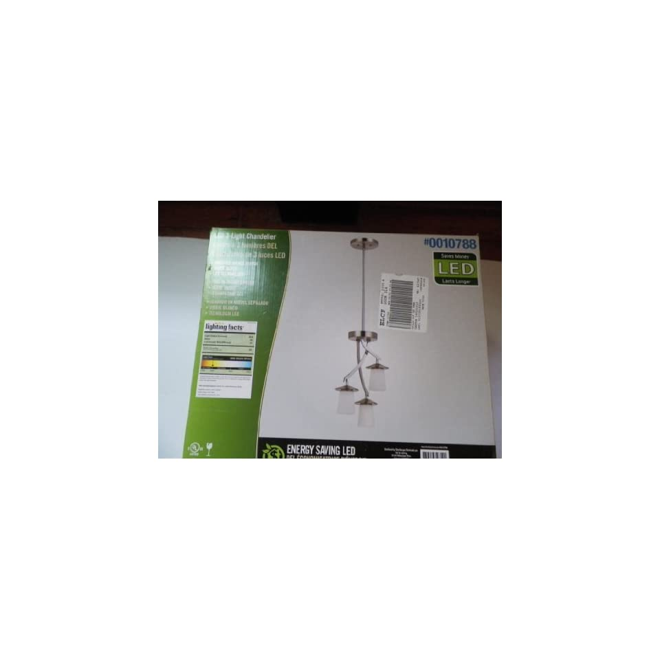 Bel Air Lighting Brushed Nickel 3 Light LED Energy Saving Chandelier Mini Pendant with White Shade (Model# P4477 3MP)