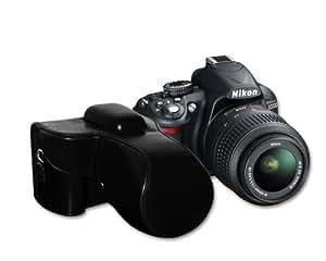DSstyles Protective Black Leather Case Bag, Cover for Nikon D3200 18-55MM Lens VR Kit