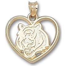 """Cincinnati Bengals """"Bengals Head Heart"""" Pendant - 14KT Gold Jewelry"""