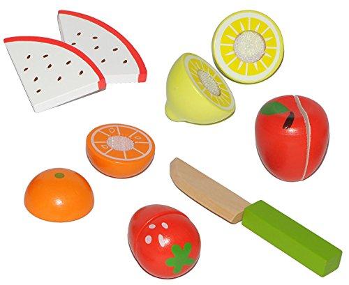 11 tlg. Set Früchte / Obst + Messer aus Holz