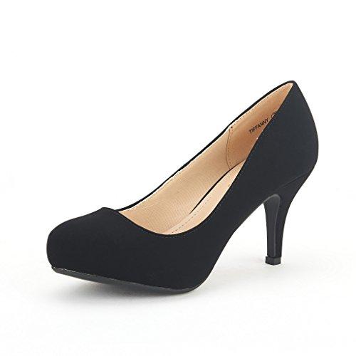 DREAM PAIRS TIFFANY Women's New Classic Elegant Versatile Low Stiletto Heel Dress Platform Pumps Shoes Black Size 7.5