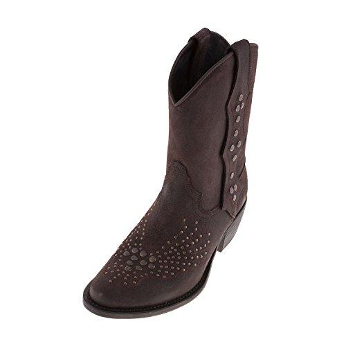 SANCHO Boots VS11040 Salt Pepper-Stivali da Cowboy, in pelle, colore: Marrone scuro, Marrone (Marrone scuro), 40