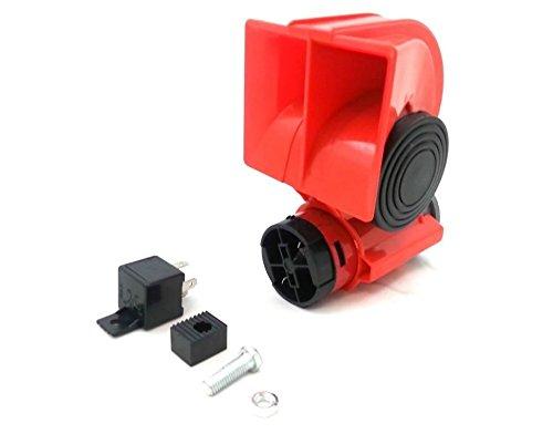 24V-Fanfare-Druckluft-Lufthorn-Horn-Hupe-Rot-Kompressor-LKW-PKW-Boot