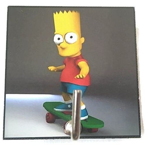 Agility Bathroom Wall Hanger Hat Bag Key Adhesive Wood Hook Vintage The Simpsons Bart & Skateboard's Photo
