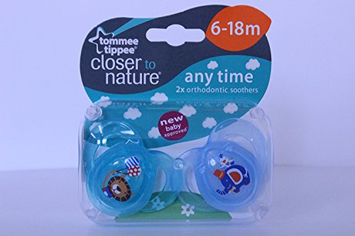 Tommee Tippee Closer to Nature Any Time 6-18m 2x Orthodontic Soothers (Lion and Elephant)