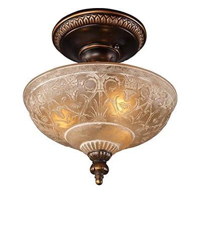 Artistic Lighting Restoration 3-Light 12 Semi-Flush Mount, Golden Bronze