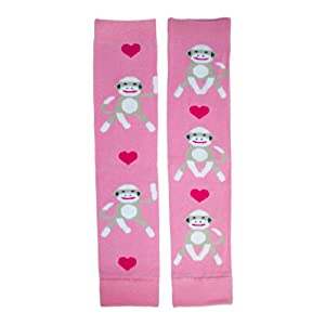 Hugglugs Girls Pink Sock Monkey Legwarmers