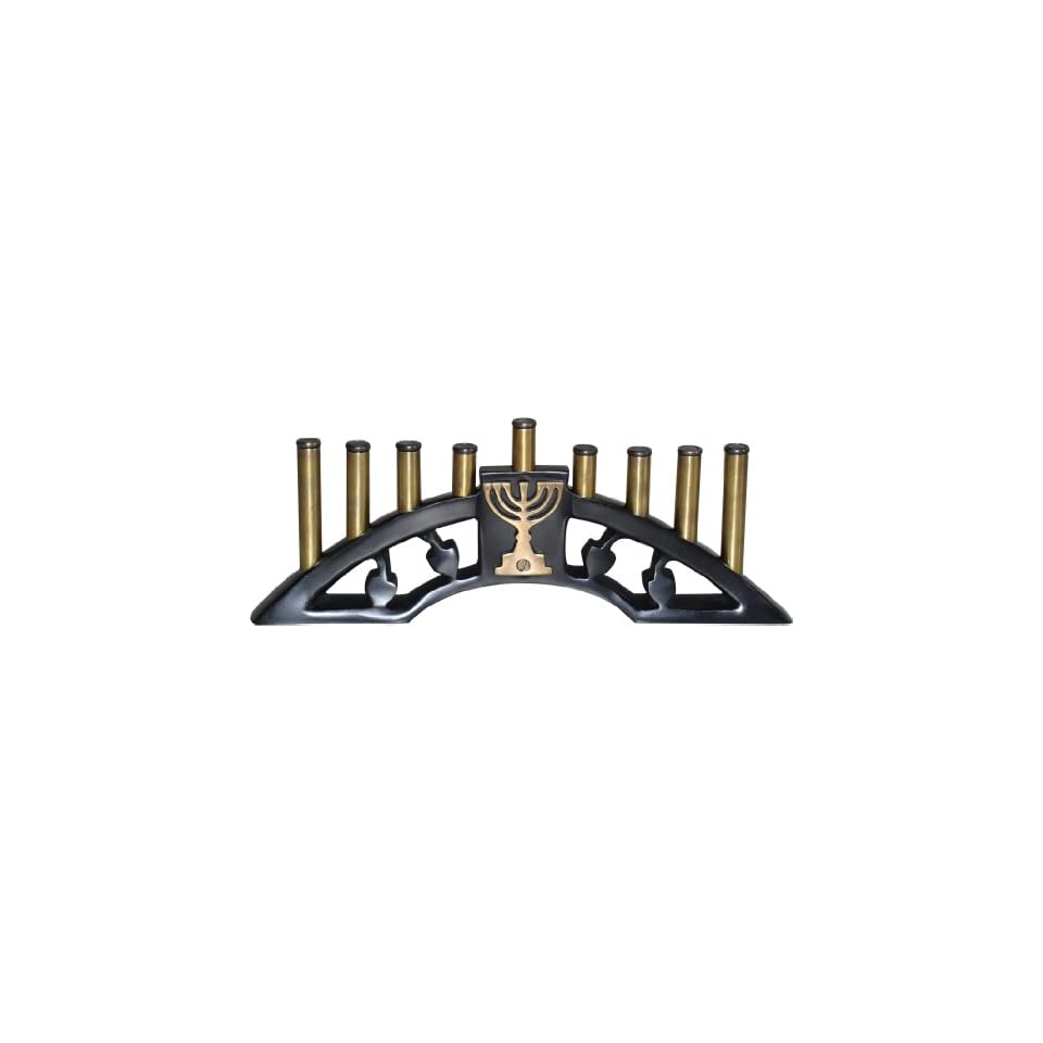 Menorah 9 Branch Black & Antique Brass Finish 11.5 L with Beautiful Inset of 7  Branch Menorah