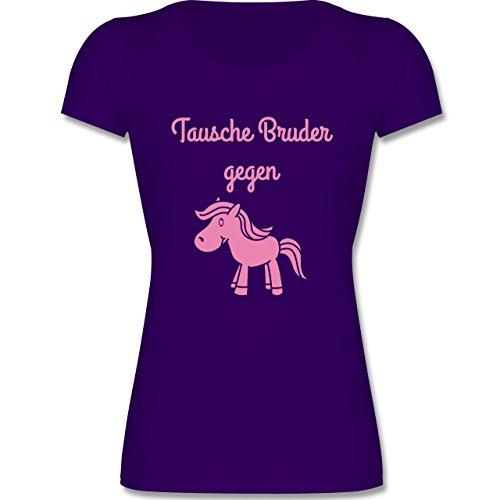 F288K Leicht tailliertes Kinder Mädchen T Shirt Girls Valueweight T mit Rundhalsausschnitt, bewährte Qualität - 104 (3-4 Jahre) - Lila - Sprüche Kind - Tausche Bruder gegen Pony