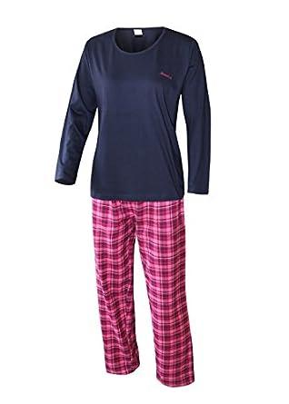 damen schlafanzug lang damen pyjama lang damen schlafanzug aus 100 baumwolle flanell weich und. Black Bedroom Furniture Sets. Home Design Ideas