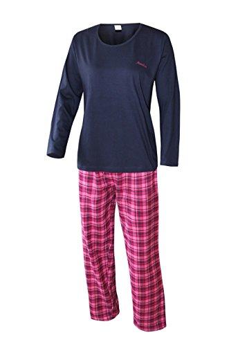 Damen Schlafanzug lang Damen Pyjama lang Damen Schlafanzug aus 100% Baumwolle Flanell weich und warm (L/44-46, shirt uni marine/hose karodesign)