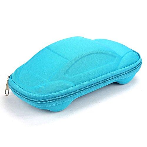 Aokdis (Tm) Hot Selling Car Shaped Zipper Case Eyeglass Sunglass Glasses Convenient Case (Blue)