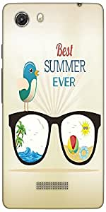 Snoogg Summer Vector Illustration With Glasses Bird Rays Ball Water Palm Tree...
