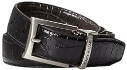 Stacy Adams Men's 30mm Croco Embossed Genuine Leather With Twist Reversible Belt, Black/Grey, 38