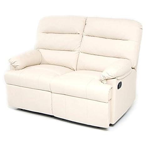 Divano 2 posti reclinabile relax colore crema