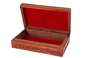 Wooden Jewelry Box Carving Work Unique Flower Design 8 X 5 Inches