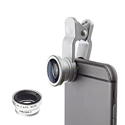 Mobilegear Universal 3 in 1 Mobile Camera Lens With Macro, Fiesheye & Wide Angel Lens for Smartphones Photography - Silver
