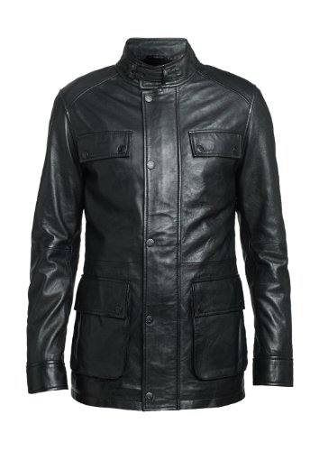 MENS BLACK WASHED LEATHER ROADSTER / TRAWLER COAT - SMALL 38