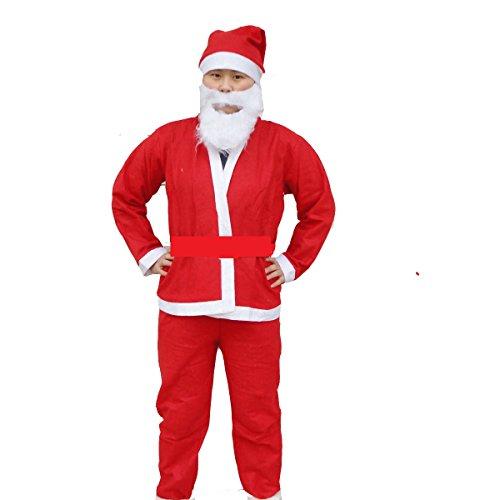 ホゥホゥ ! サンタ 男性 衣装 セット 身長170cm~180cm サンタクロース 衣装 帽子 ひげ コスプレ コスチューム クリスマス コス メンズ 成人 サンタコス (サンタ)