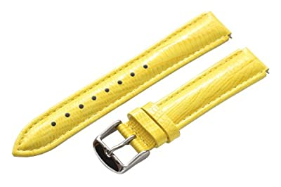 Clockwork Synergy - 18mm x 15mm - Yellow Lizard Grain Leather Watch Band fits Philip stein Small