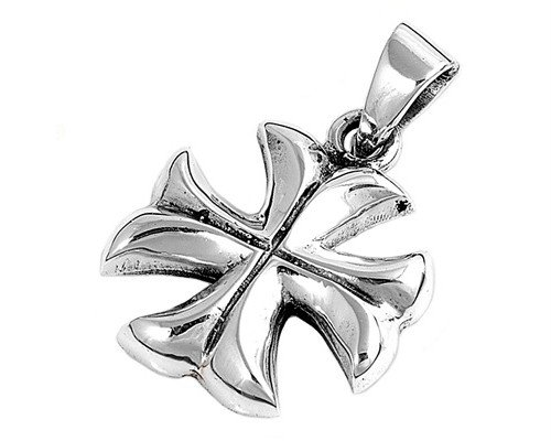 Sterling Silver Iron Cross Pendant Solid 925 Oxidized Maltese Faith Charm 21mm with 1.2mm Rope Chain 30 inch (CAP10015/9208-30)