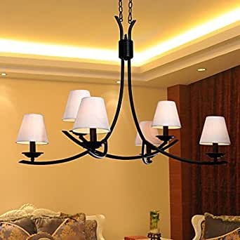 60w contemporary chandelier with 6 lights and fabric shade for Contemporary chandeliers amazon