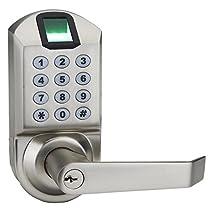 Ardwolf A1 No Drills Needed Keyless Keypad Fingerprint Door Lock, Unlock with Fingerprint Key Password - Satin Nickel