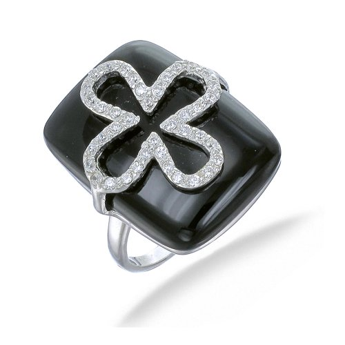 20x15MM Black Onyx Ring In Sterling Silver In Size J (Available in Sizes J - S)