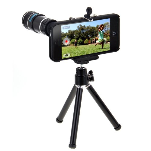 High Quality Portable 12 X Zoom Telescope Camera Lens With Mini Tripod And Case Kit For Apple Iphone 5 5G Black