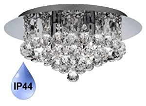 Modern Crystal IP44 Bathroom Ceiling Light with Chrome Backplate and 4 x 33watt Halogen Lamps 4404-4CC from Searchlight