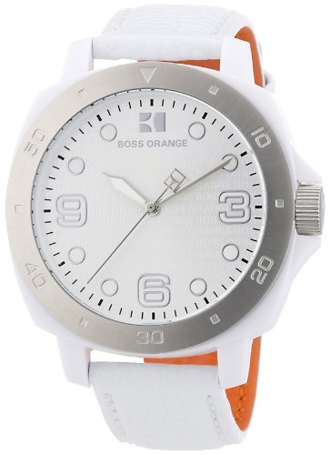 Hugo Boss Orange White Dial White Leather Ladies Watch 1502290 by HUGO BOSS