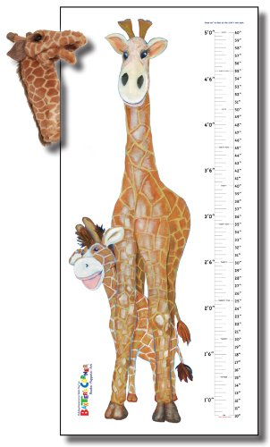 "Gerome the Giraffe - Deluxe Gift Set, Includes 25"" X 55"" Growth Chart Decal, and Folkmanis Puppet"