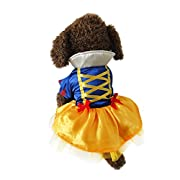 Vvhome Disney Snow White Cartoon Pet Custume Coat Dress for Small Medium Large Dogs (white, S)