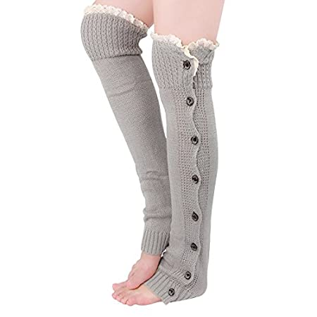 """Feature Material:Soft Acrylic Style: 8 Bottons with crochet lace Size: one size, measure 22"""" from heel to top Occassion: All season Washing instruction: Hand wash with cold water, air dry Package: 1 pair leg warmer with Tirain packing gif..."""