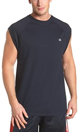 Champion Men's Jersey Raglan Cap-Sleeve Tee, Navy, Small