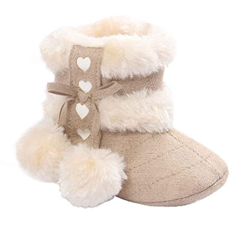 Voberry® Baby Toddler Girls Knit Soft Winter Warm Snow Boot Fur Trimmed Pom Pom Boots (6~12M, Beige)
