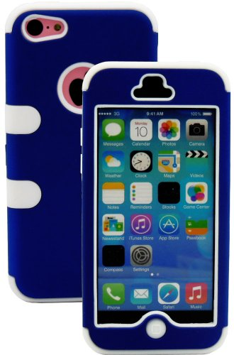 Mylife (Tm) White + Royal Blue Flat Color Style 3 Layer (Hybrid Flex Gel) Grip Case For New Apple Iphone 5C Touch Phone (External 2 Piece Full Body Defender Armor Rubberized Shell + Internal Gel Fit Silicone Flex Protector + Lifetime Waranty + Sealed Insi