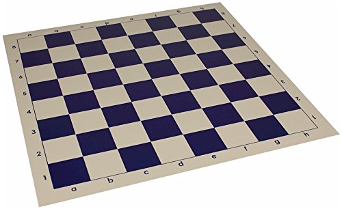 "Club Vinyl Rollup Chess Board Blue & Buff - 2.25"" Squares"