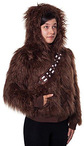 Ladies Star Wars Chewbacca Faux Fur Zip Hoodie Brown 2XL