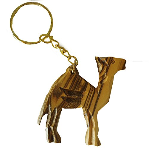 olivewood Olive Wood Carved Camel Key Chain from bethlehem Israel (OW-KC-006)