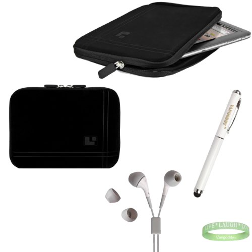 Black On Black Sleeve, Bubble Like Interior Lining To Prevent Scratches For Your 8Inch Tablet + Electric Geen Vangoddy Bracelet + 3 In 1 Styuls + White Earbuds!!!