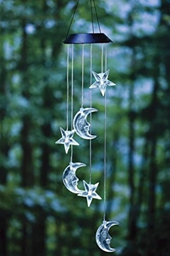 Clear Star & Moon LED Solar Wind Spinner Mobile Light Color Changing (Wind Mobile compare prices)