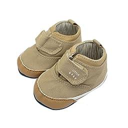 Voberry® Newborn Baby Boys\' Premium Soft Sole Infant Prewalker Toddler Canvas Sneaker Shoes (0~6 Month, Khaki )