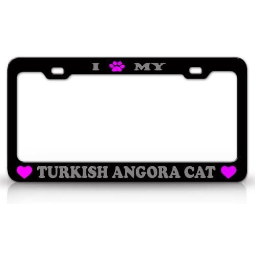 I PAW MY TURKISH ANGORA Cat Pet Animal High Quality STEEL /METAL Auto License Plate Frame, Black/Silver