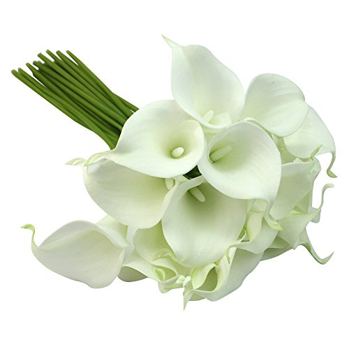 Calla Lily Bridal Wedding Party Decor Bouquet 20 heads Latex Touch Flower Bunch by AllLife