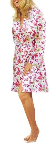 adonia mode Glanz Satin Kimono Blumendruck , Gr. 40/42 – 48/50 günstig online kaufen